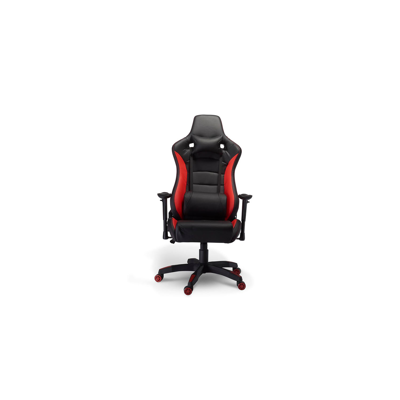 Billede af De Luxe Gaming stol - sort og rød kunstlæder, m. armlæn