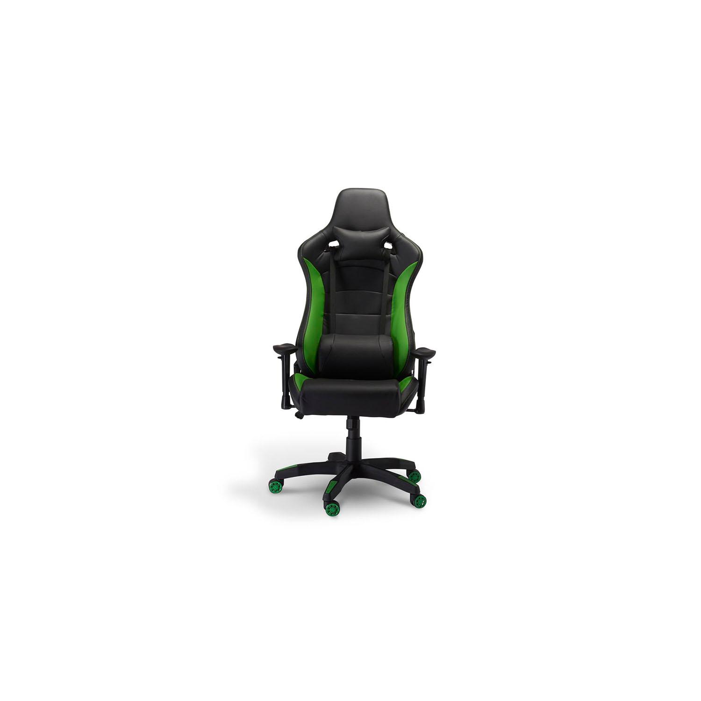 Billede af De Luxe Gaming stol - sort og grøn kunstlæder, m. armlæn
