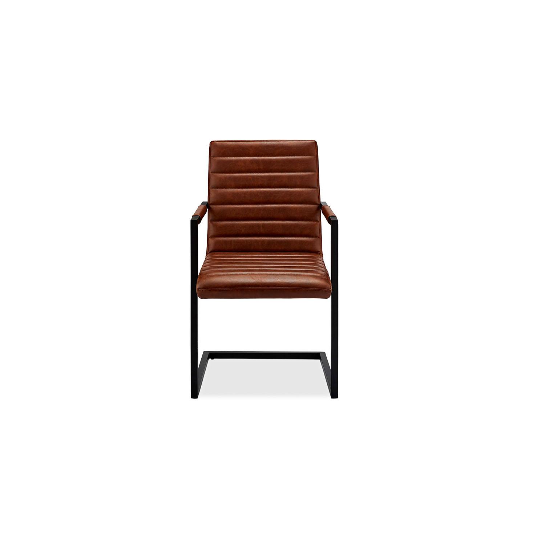 Fanny spisebordsstol - brunt kunstlæder og sort metal, m. armlæn