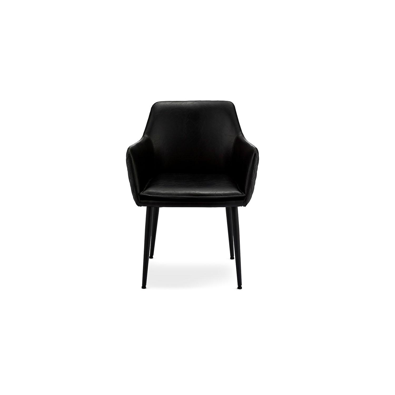 Shiva spisebordsstol - sort kunstlæder og sorte ben, m. armlæn