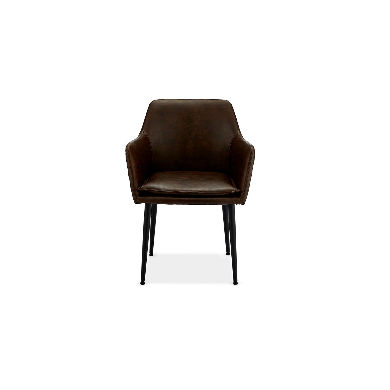 Shiva spisebordsstol - mørkebrunt kunstlæder og sorte ben, m. armlæn
