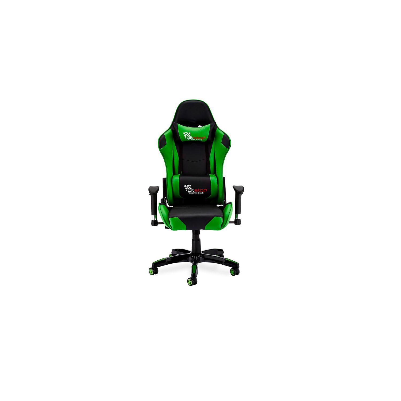 Billede af Gaming stol - sort/grøn kunstlæder, med armlæn