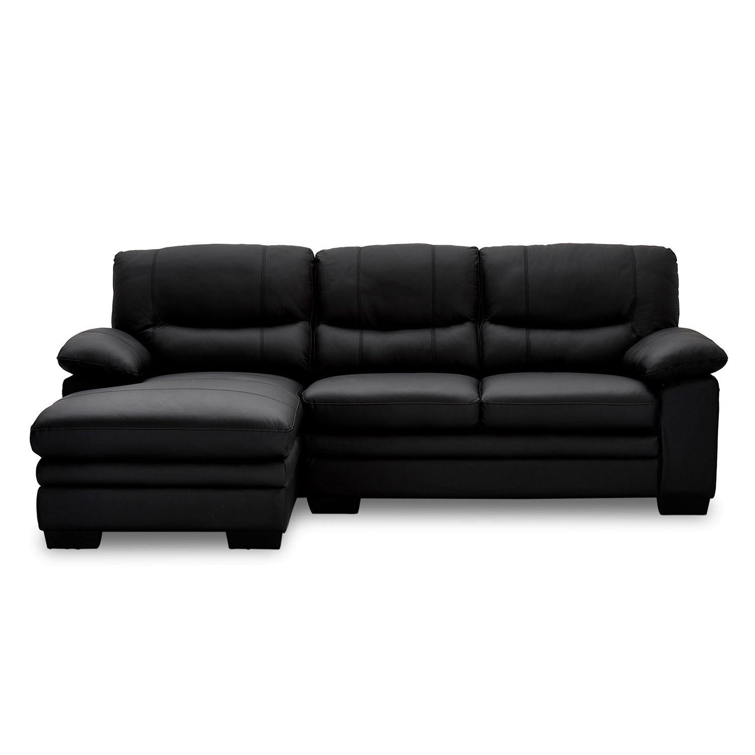 Moby sofa m. chaiselong - sort læder, venstrevendt
