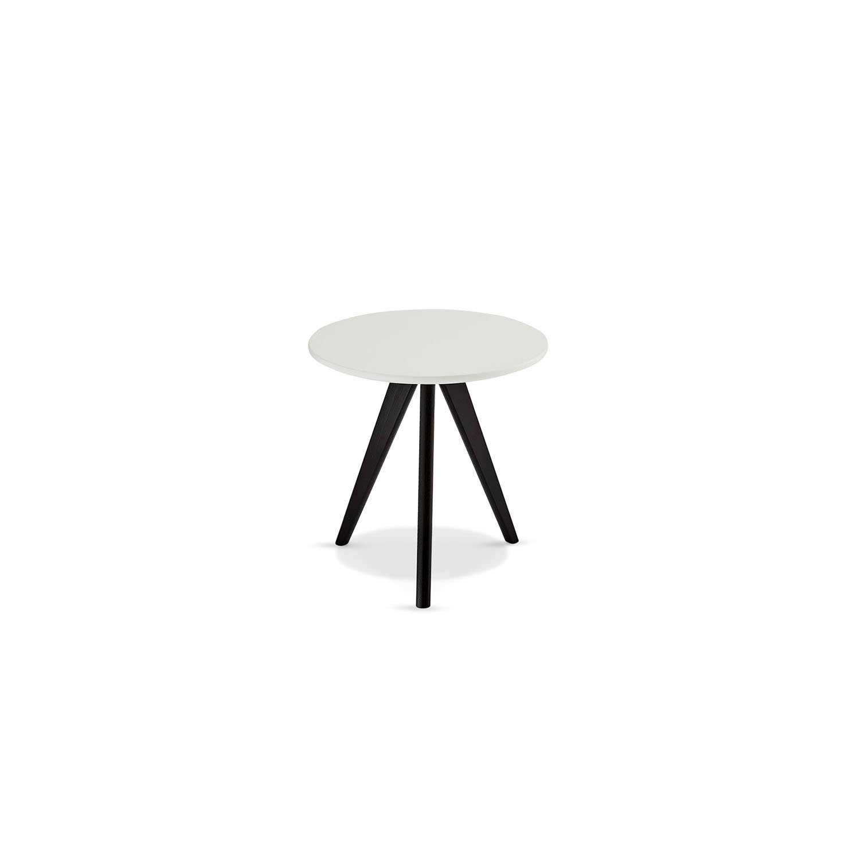 Life sofabord - hvid/sort træ, rund (Ø:48)