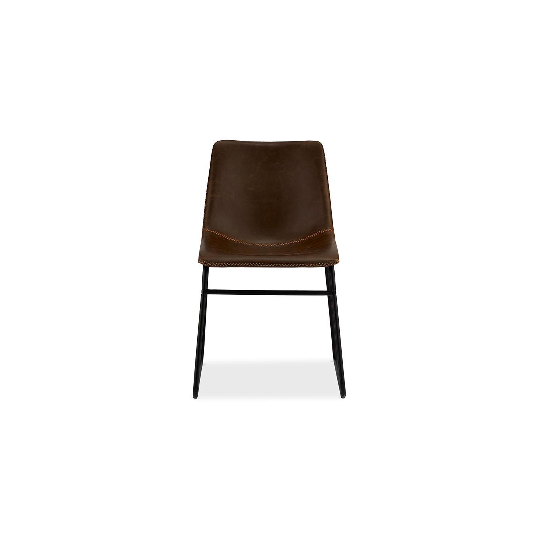 Indiana spisebordsstol - mørkebrun læder PU, sorte metalben