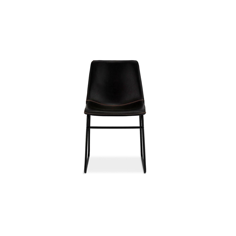 Indiana spisebordsstol - sort læder PU, sorte metalben