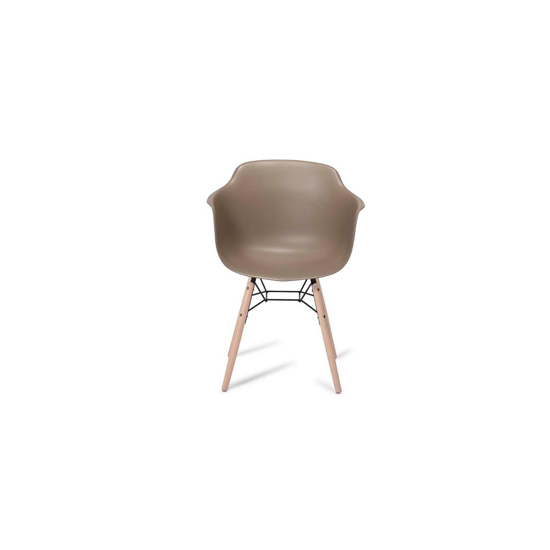 Jupiter spisebordsstol - grå/natur PVC/træ, m. armlæn
