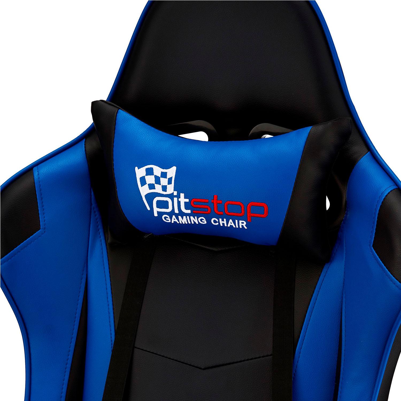 Gaming stol sortblå kunstlæder, med armlæn