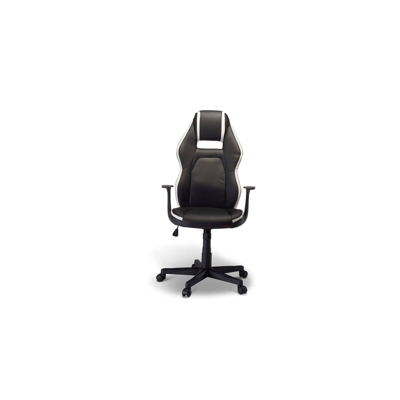 Billede af Space gaming stol - hvidt og sort kunstlæder, m. armlæn