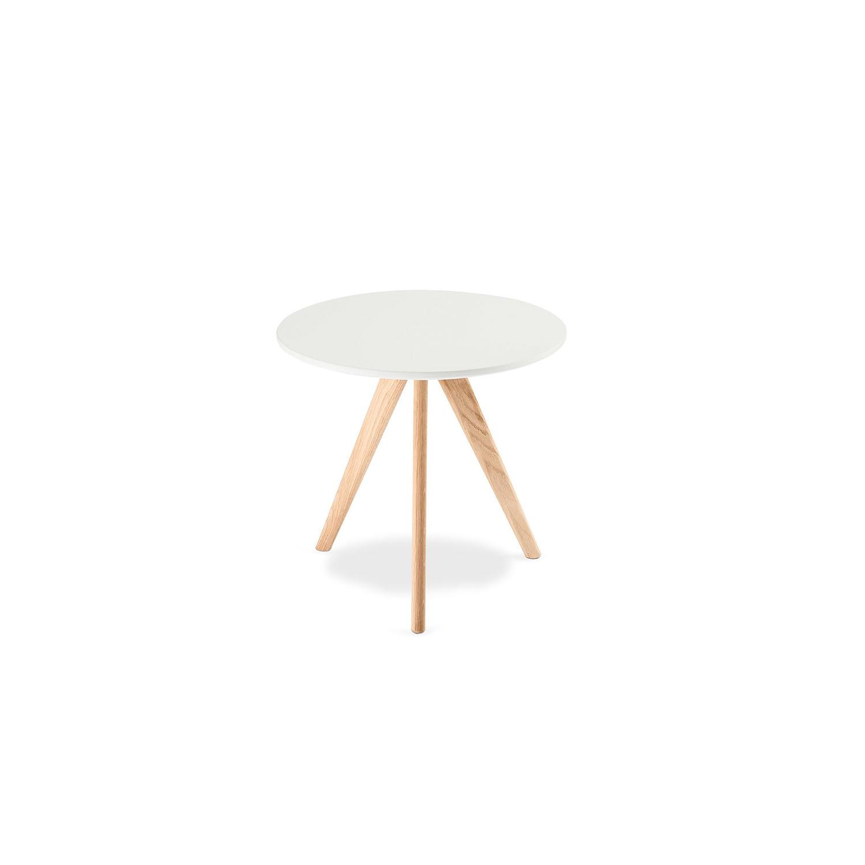Life sofabord - mat hvid træ m. egetræsben, m. skråben, rundt (Ø:48) thumbnail