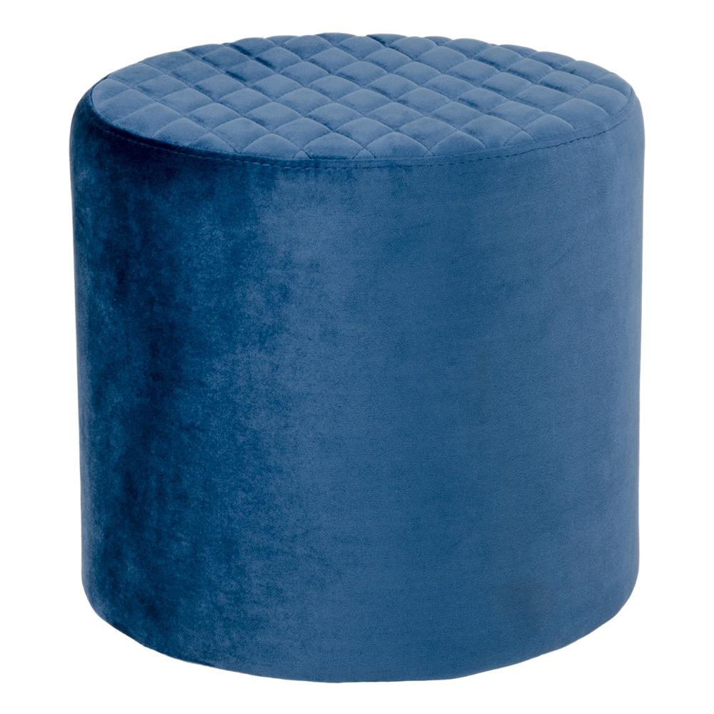 HOUSE NORDIC Ejby puf - mørkeblå velour, rund (Ø34)