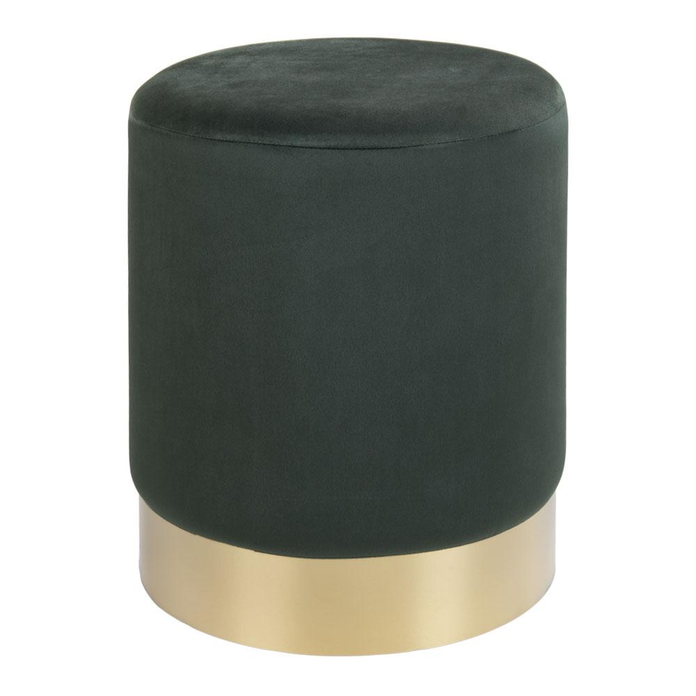 HOUSE NORDIC Gamby puf - grøn/messing velour/metal, rund (Ø34)