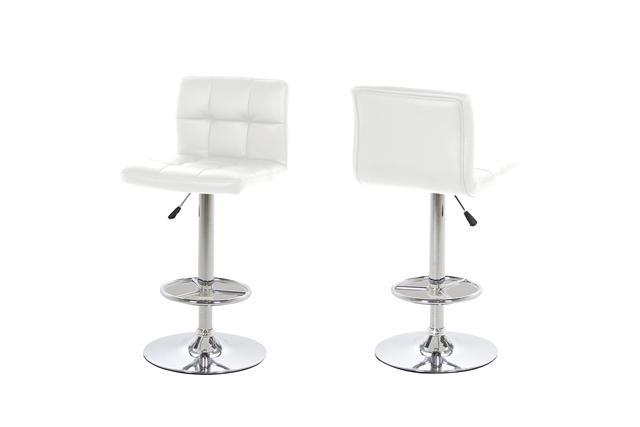 Billede af Hot barstol - Hvidt læder PU, metalstel, m. trompetfod