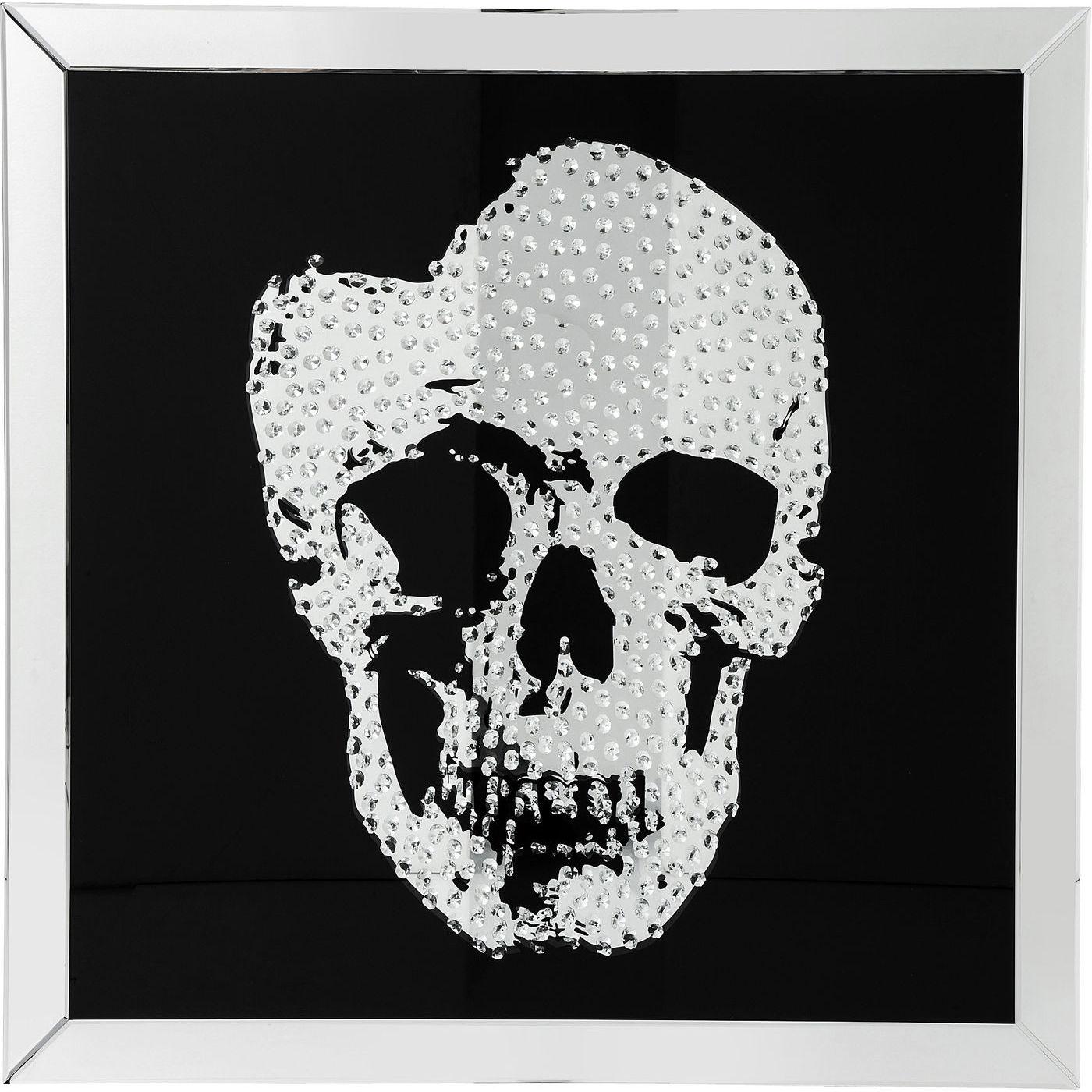 kare design Kare design plakat, mirror skull - sort sølv, m. ramme, (100x100cm) på boboonline.dk
