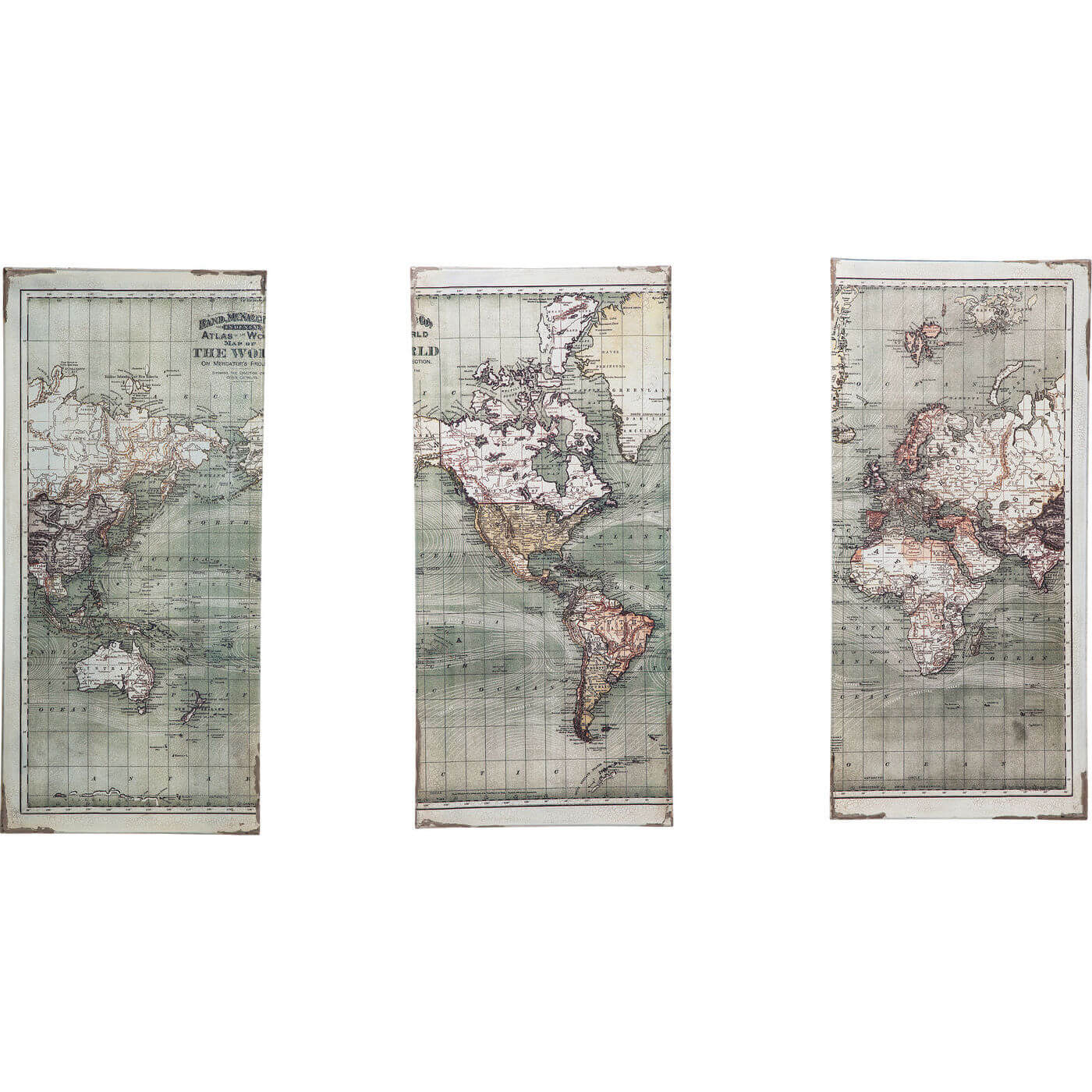 Image of   KARE DESIGN Plakat, Triptychon Map 120x118cm