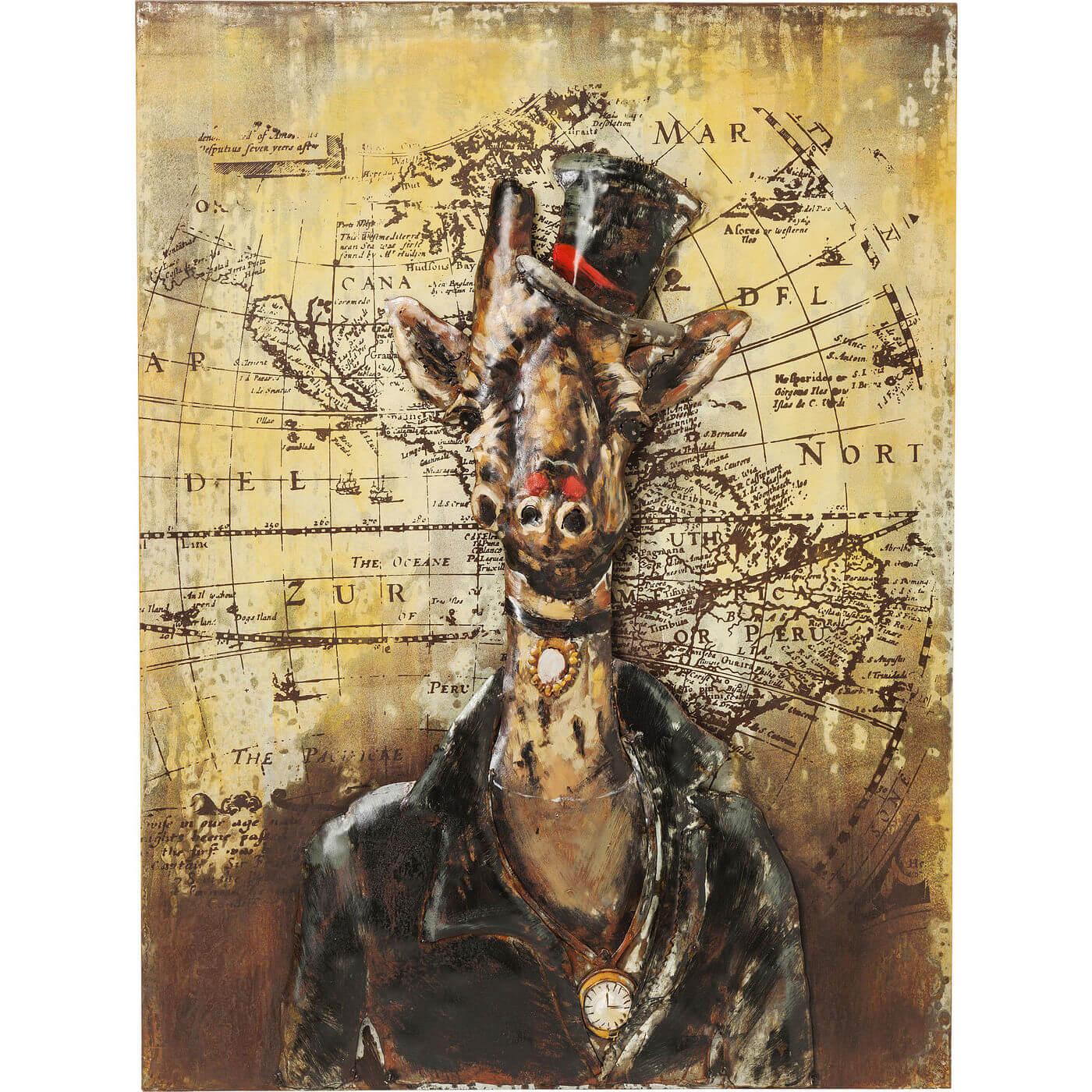 Image of   KARE DESIGN Plakat, Iron Gentlemen Giraffe 100x75cm