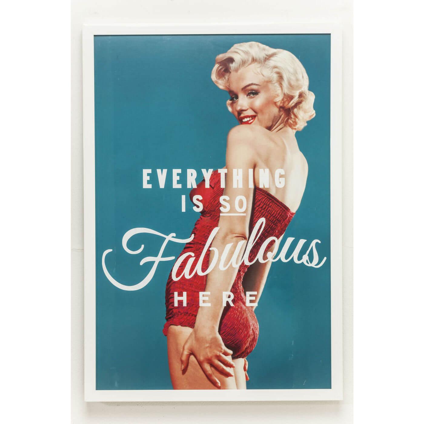 Kare design, plakat fabulous - blå/creme/rød, m. ramme, (64x94cm) fra kare design på boboonline.dk