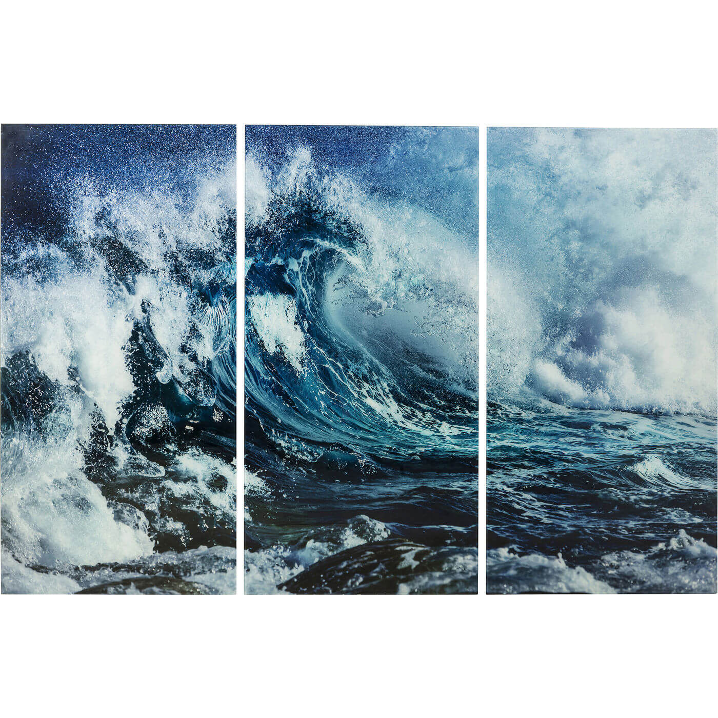 kare design Kare design triptychon wave plakat - blå/hvid glas og komposittræ, (160x240cm) fra boboonline.dk