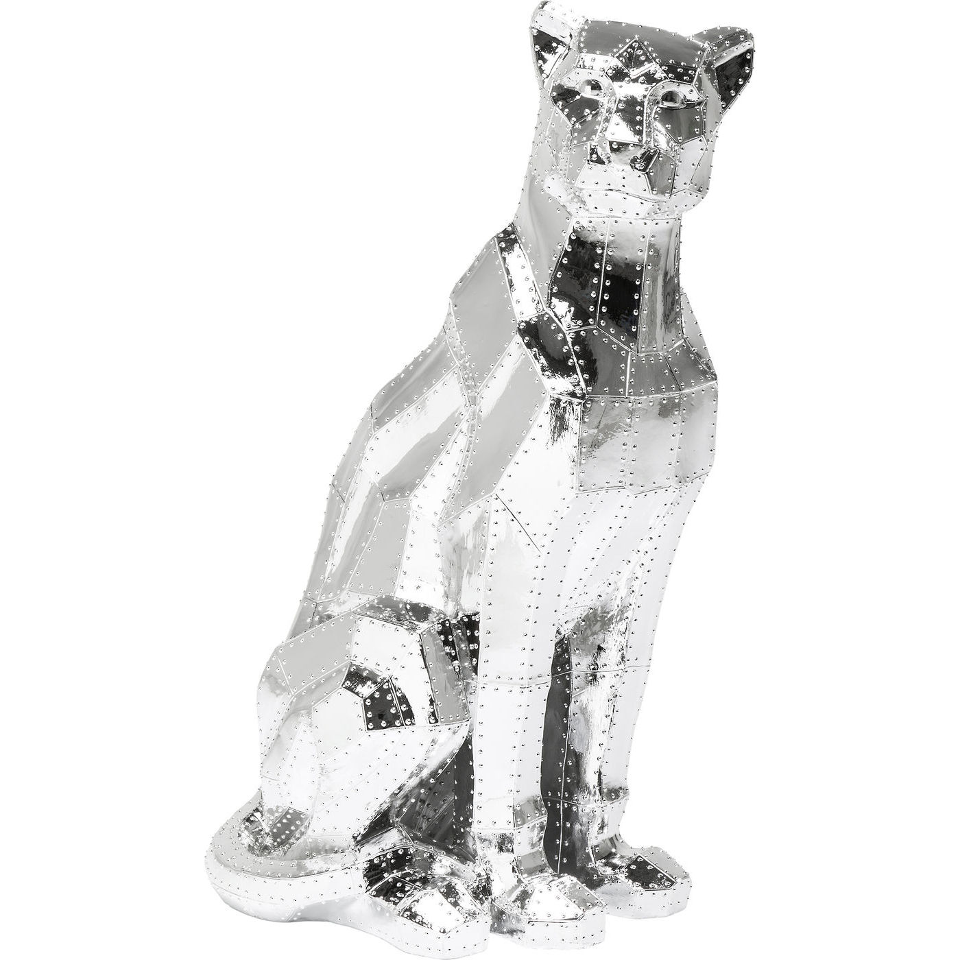 Image of   Kare Design Skulptur, Sitting Cat Rivet Chrome