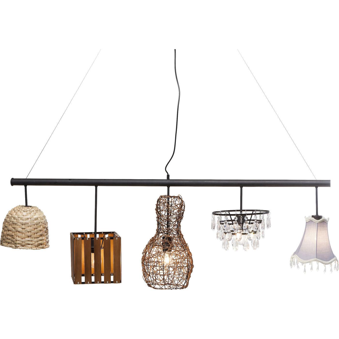 KARE DESIGN Parecchi Art House loftlampe - sort/natur stål/rattan/plastik (150cm) thumbnail