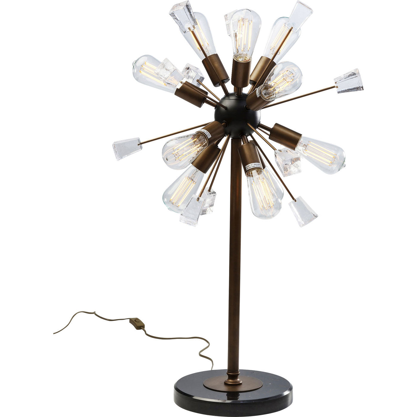 Billede af Kare Design Bordlampe, Crystal Bomb Brass