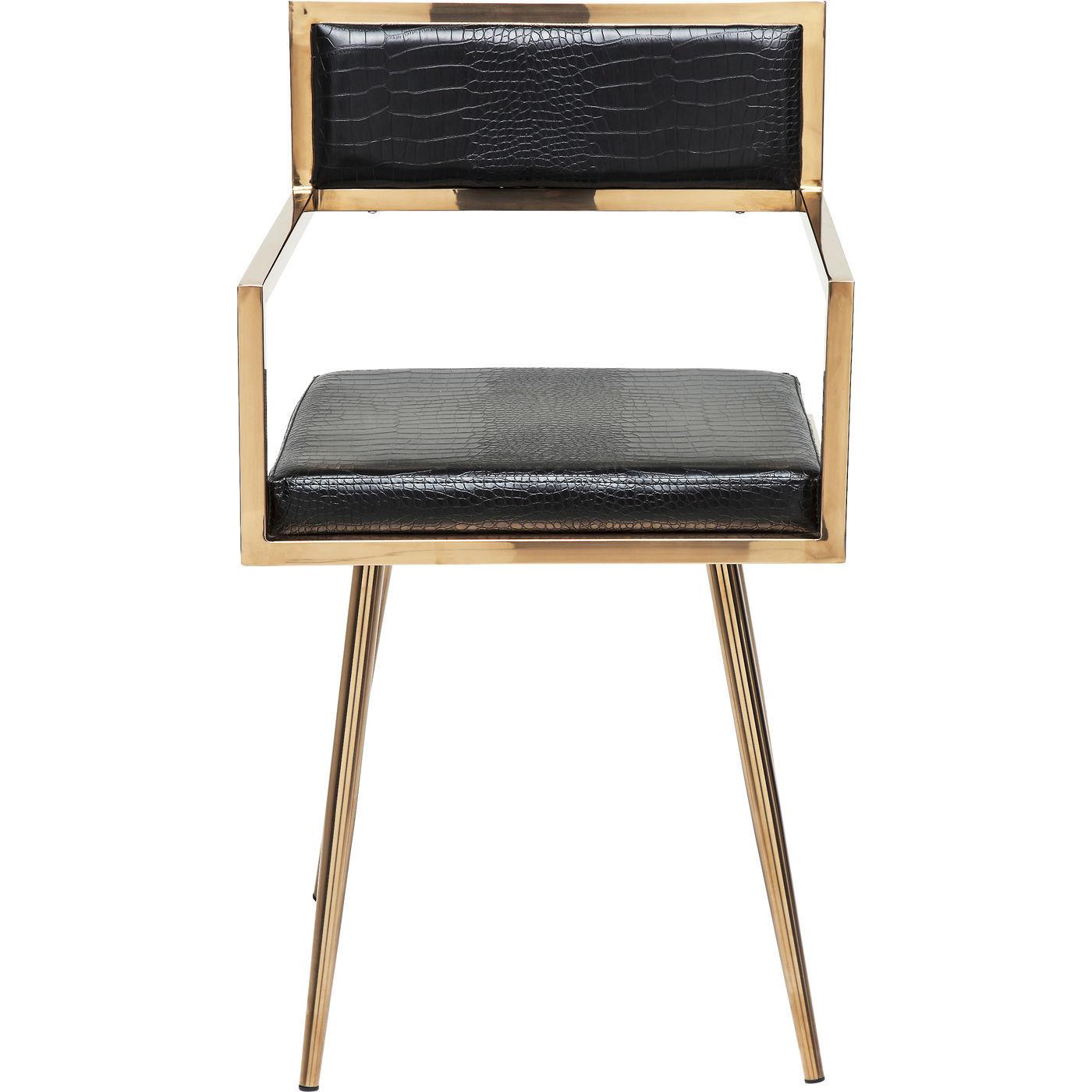 kare design – Kare design jazz rosegold spisebordsstol - guld stål og sort kunstlæder, m. armlæn på boboonline.dk