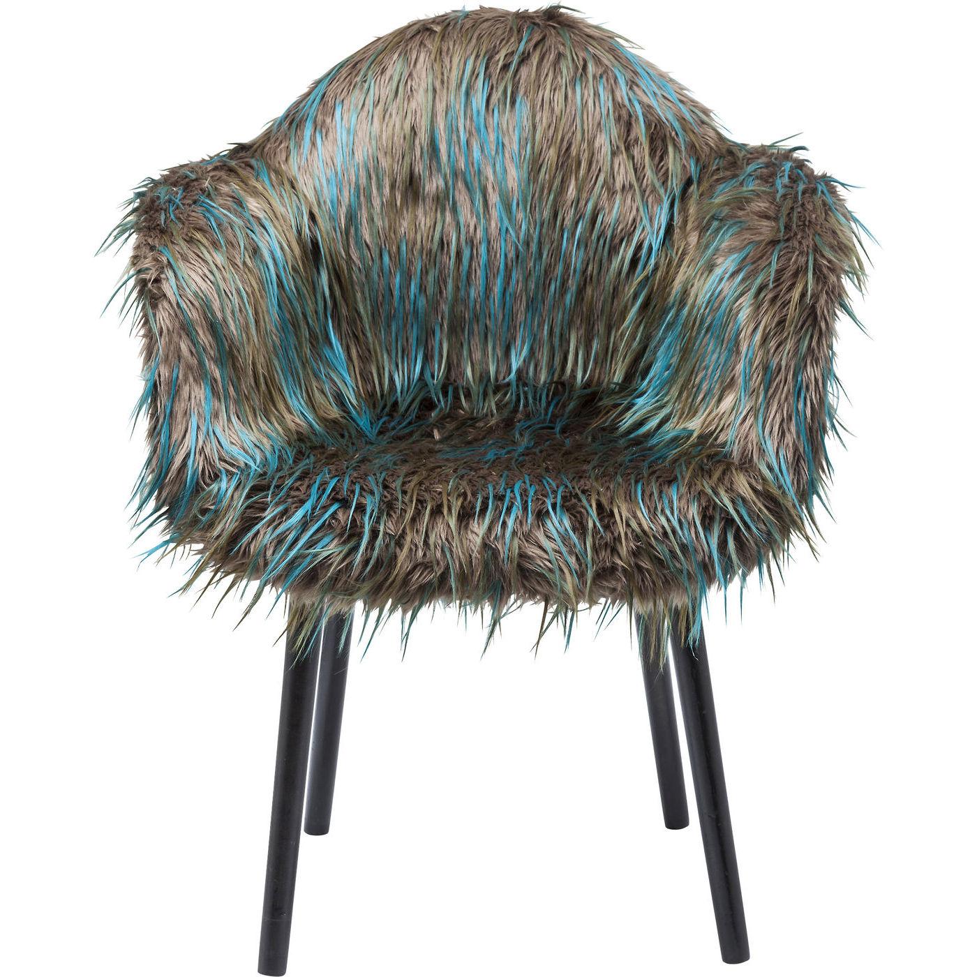 Image of   KARE DESIGN Yeti Fur Dark Green spisebordsstol - brun/grøn akryl/polyester og sort bøg, m. armlæn