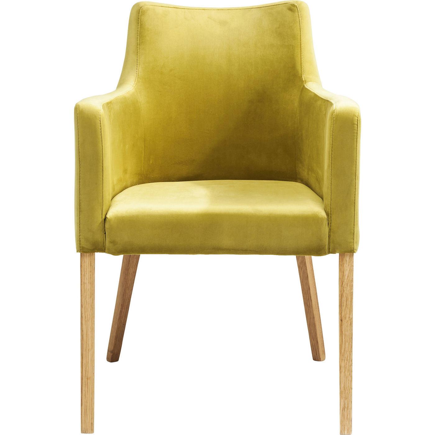 kare design Kare design mode velvet green spisebordsstol - grøn polyester/natur eg, m. armlæn fra boboonline.dk