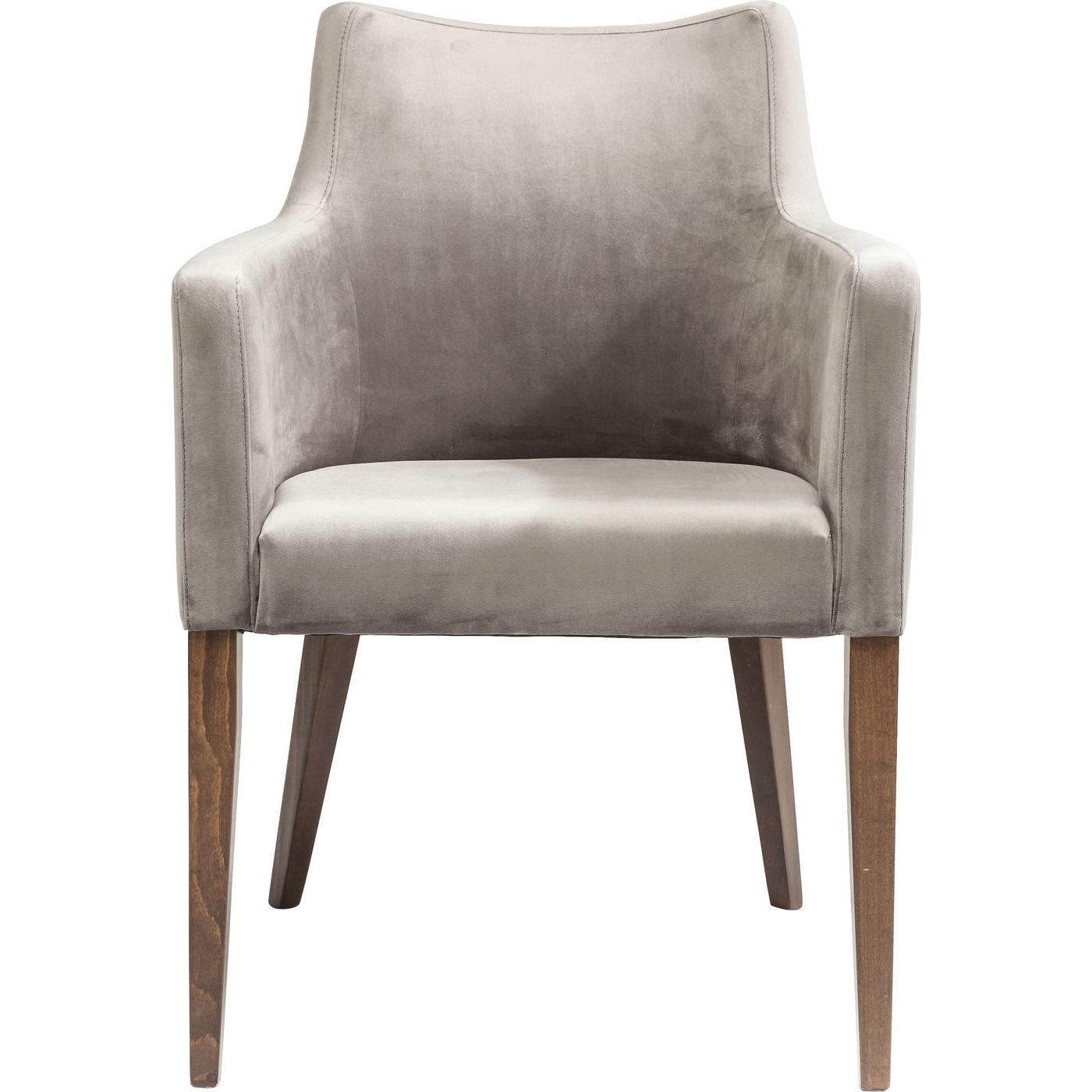 Kare design mode velvet grey spisebordsstol - grå polyester/natur bøg, m. armlæn fra kare design fra boboonline.dk