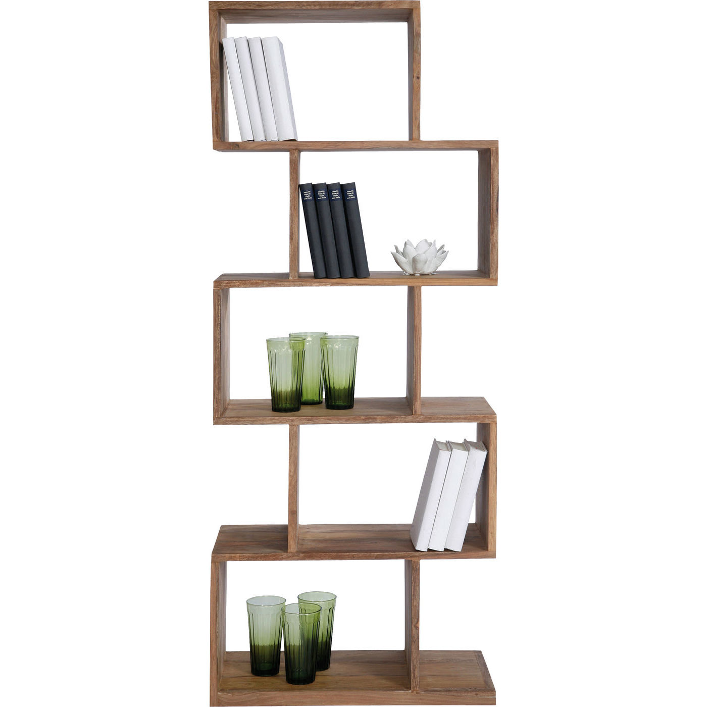 Kare design authentico shelf zick zack reol - natur sheeshamtræ (150cm)