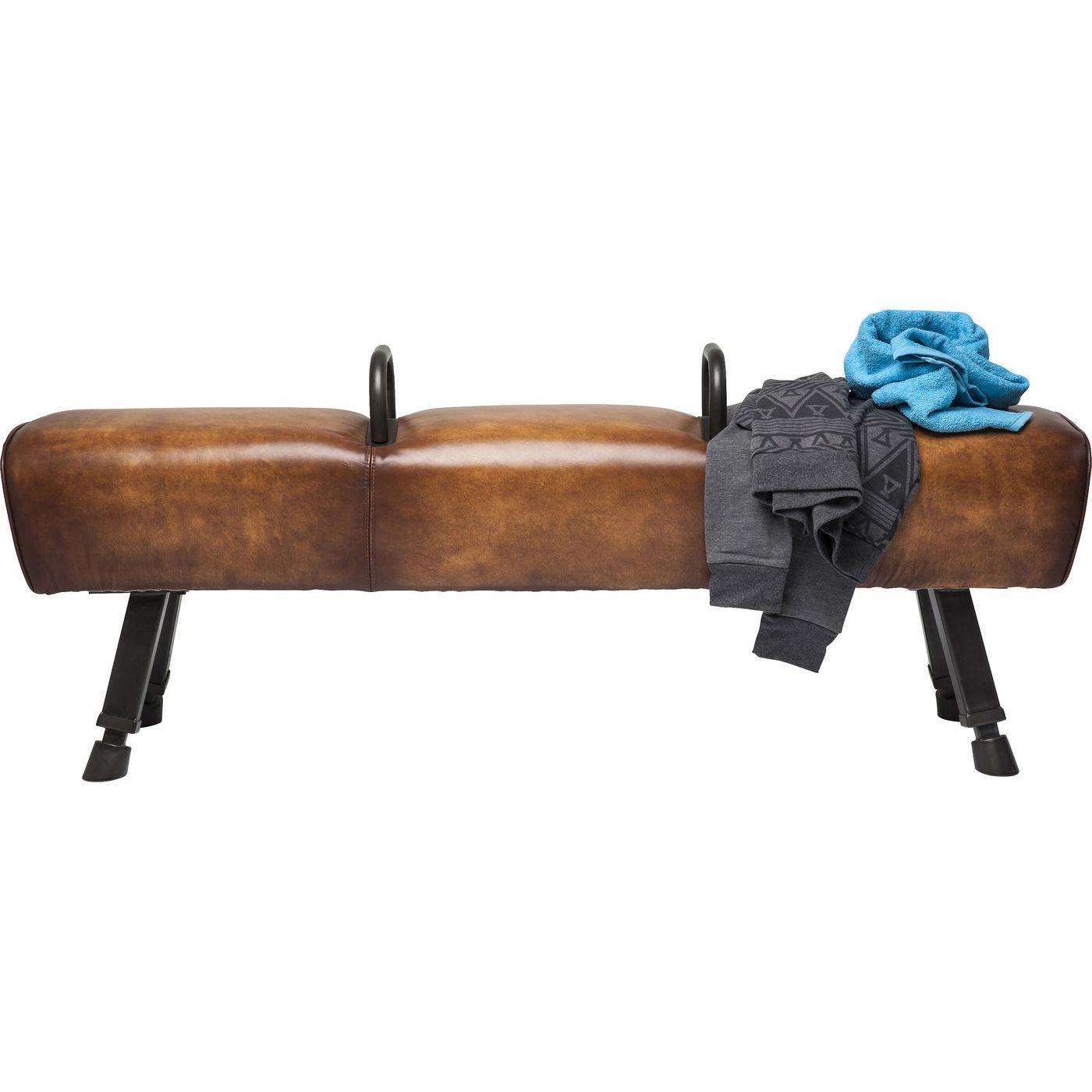KARE DESIGN Gym Gabby bænk - brunt koskind og stål (153cm)