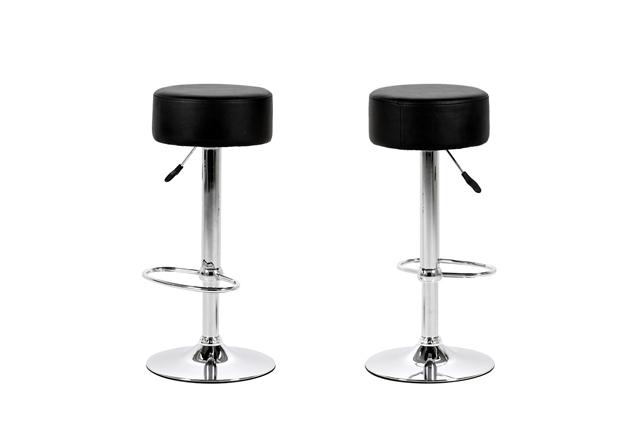 Billede af Dumpling barstol - Sort læder PU, metalstel