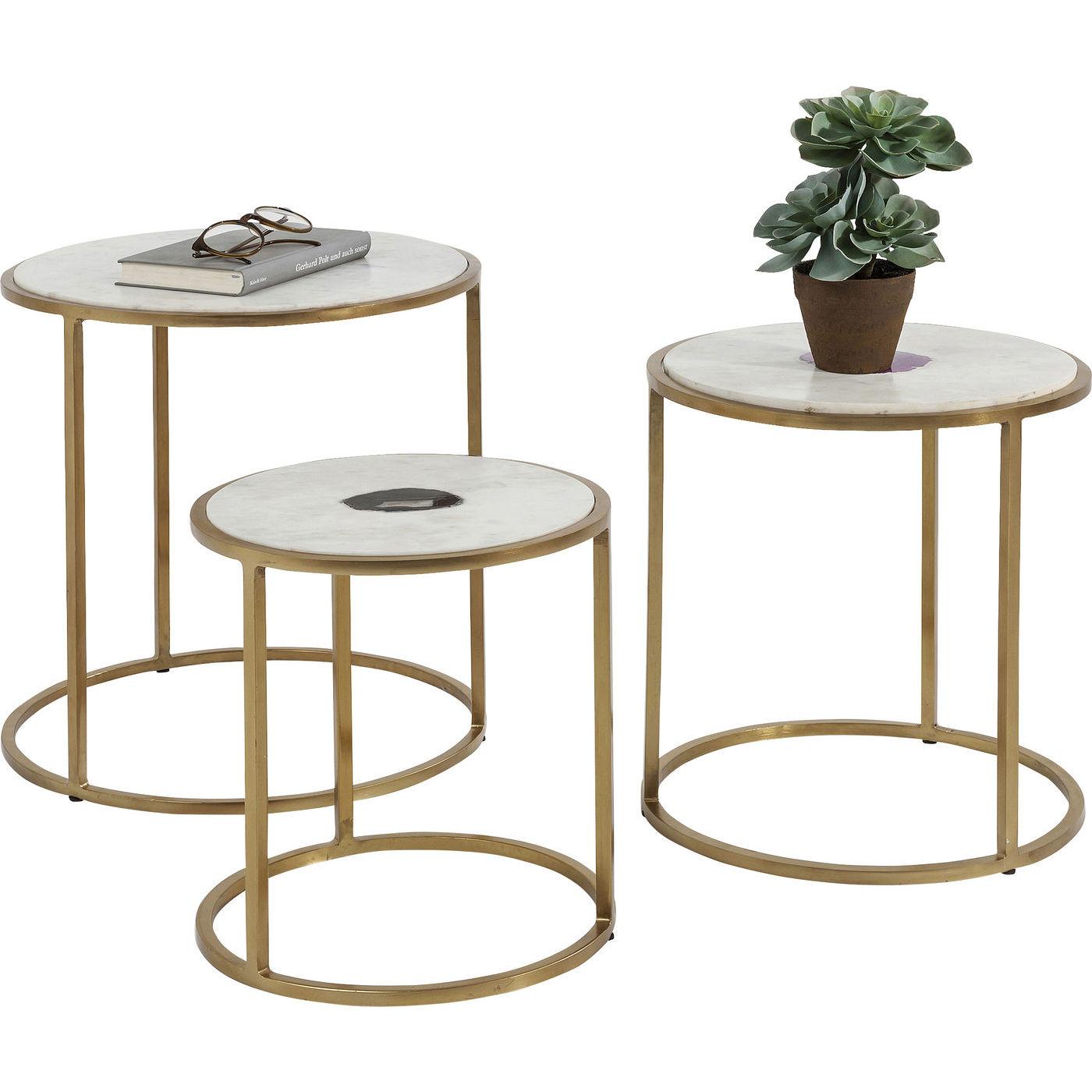 Kare design limbo indskudsborde - hvid marmor m. agat/guld stål, runde (3/sæt) fra kare design fra boboonline.dk