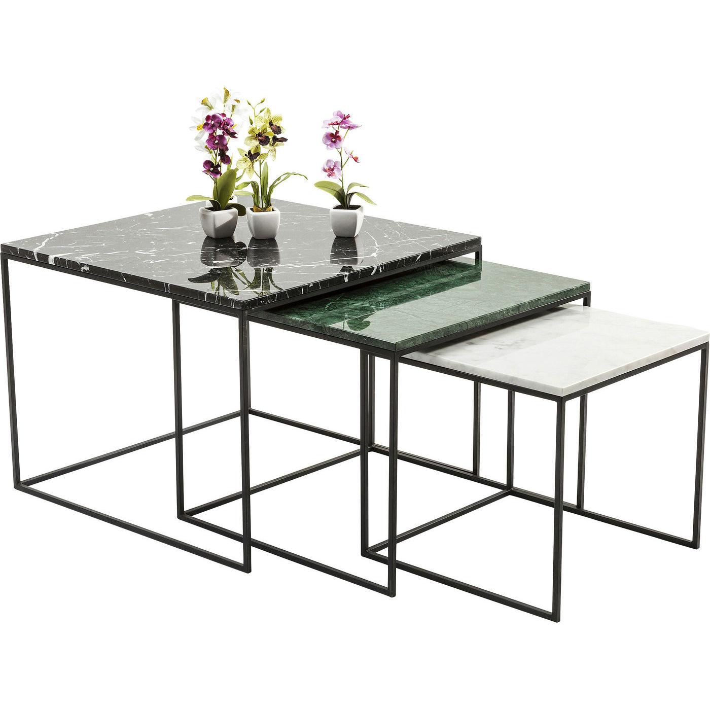 kare design Kare design marmor east coast indskudsborde - grønt/sort/hvidt marmor og stål (3/sæt) fra boboonline.dk