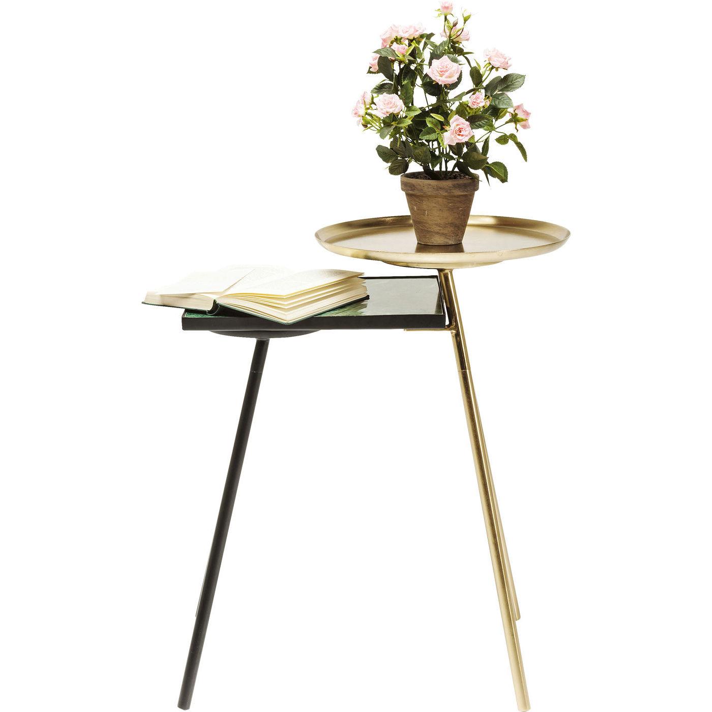 Image of   KARE DESIGN Plateau hjørnebord - messing stål/grønt marmor/sort stål (50x46)