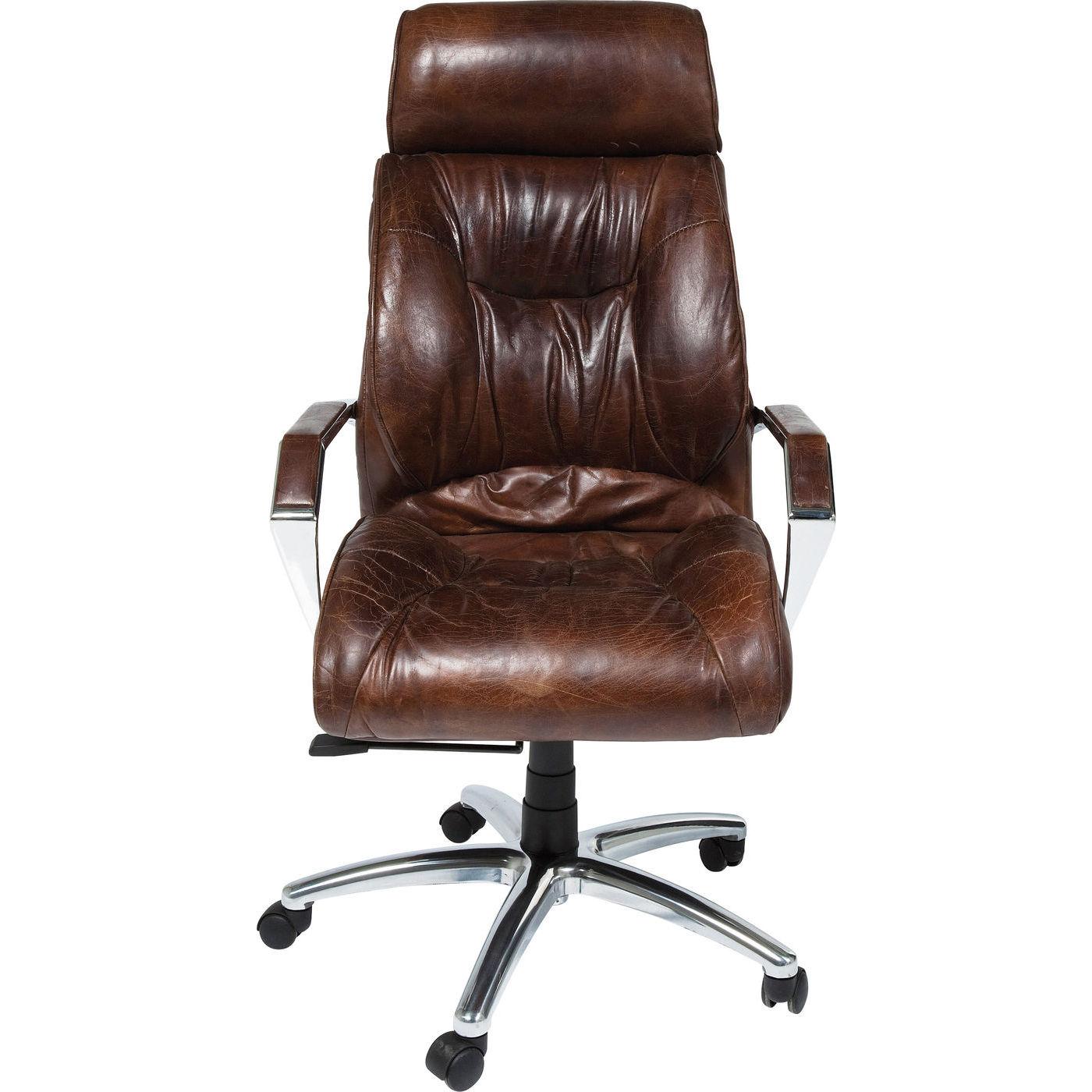 KARE DESIGN Cigar Lounge kontorstol - brunt koskind/aluminium, m. armlæn og hjul