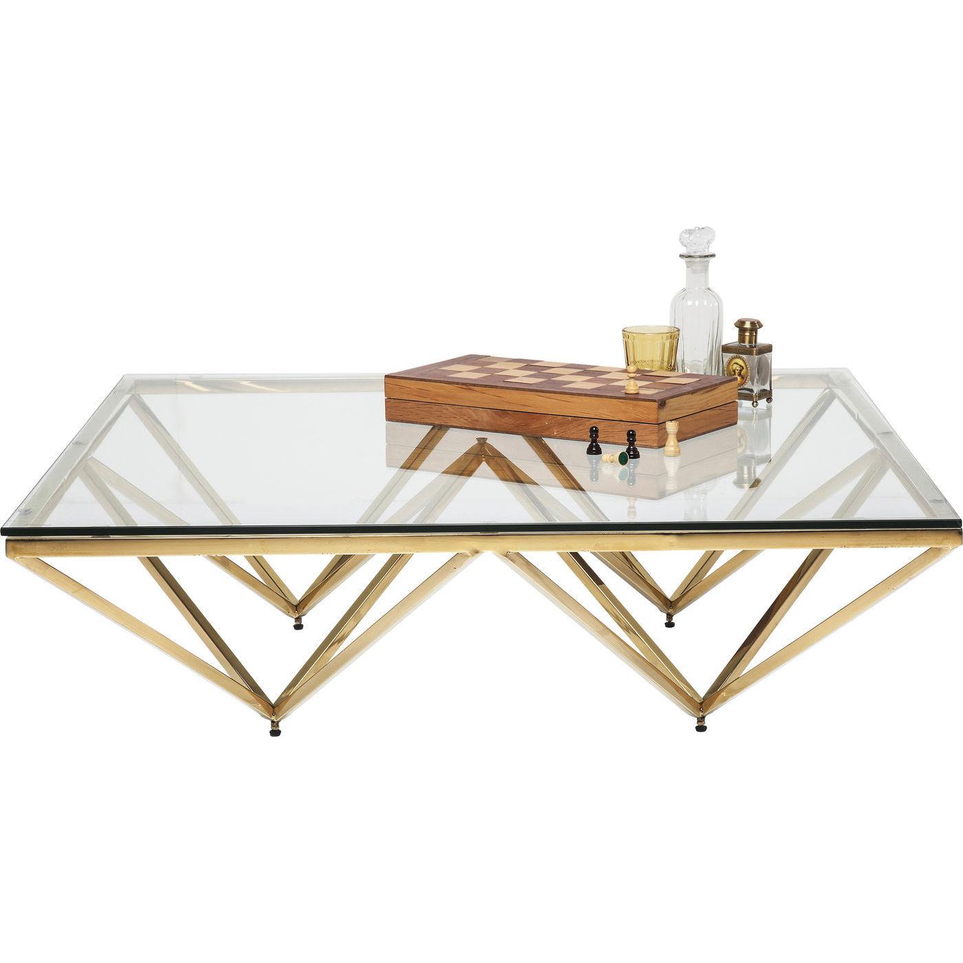 Kare design network gold sofabord - klart glas/guld stål (105x105) fra kare design fra boboonline.dk
