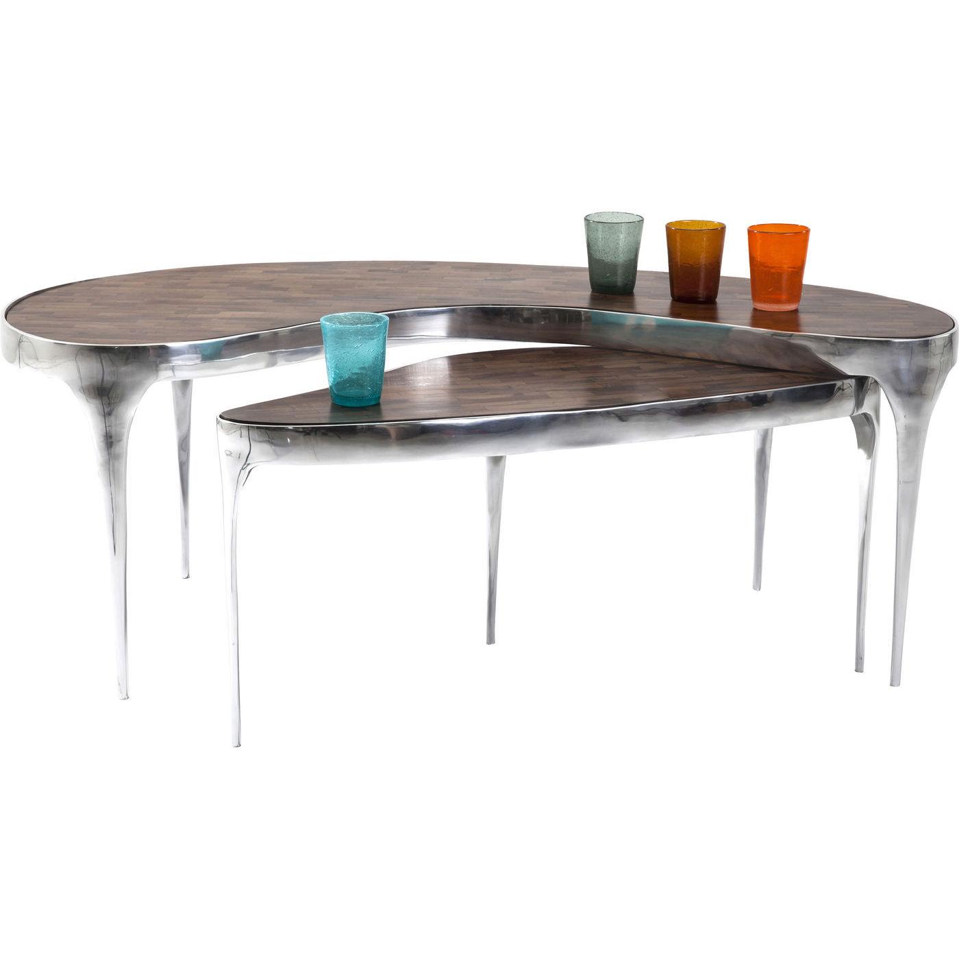 Kare design have a break sofabord - brunt mangotræ/sølv aluminium (2/sæt) (124x55)