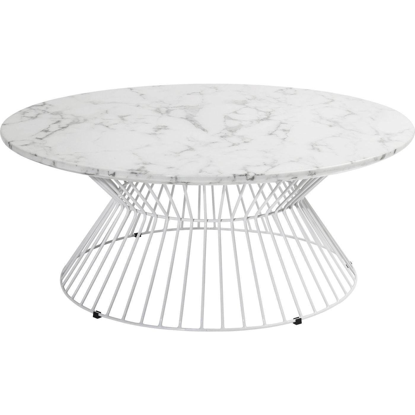 Image of   KARE DESIGN Cintura sofabord - hvidt marmorlook/hvidt stål, rundt (Ø90)