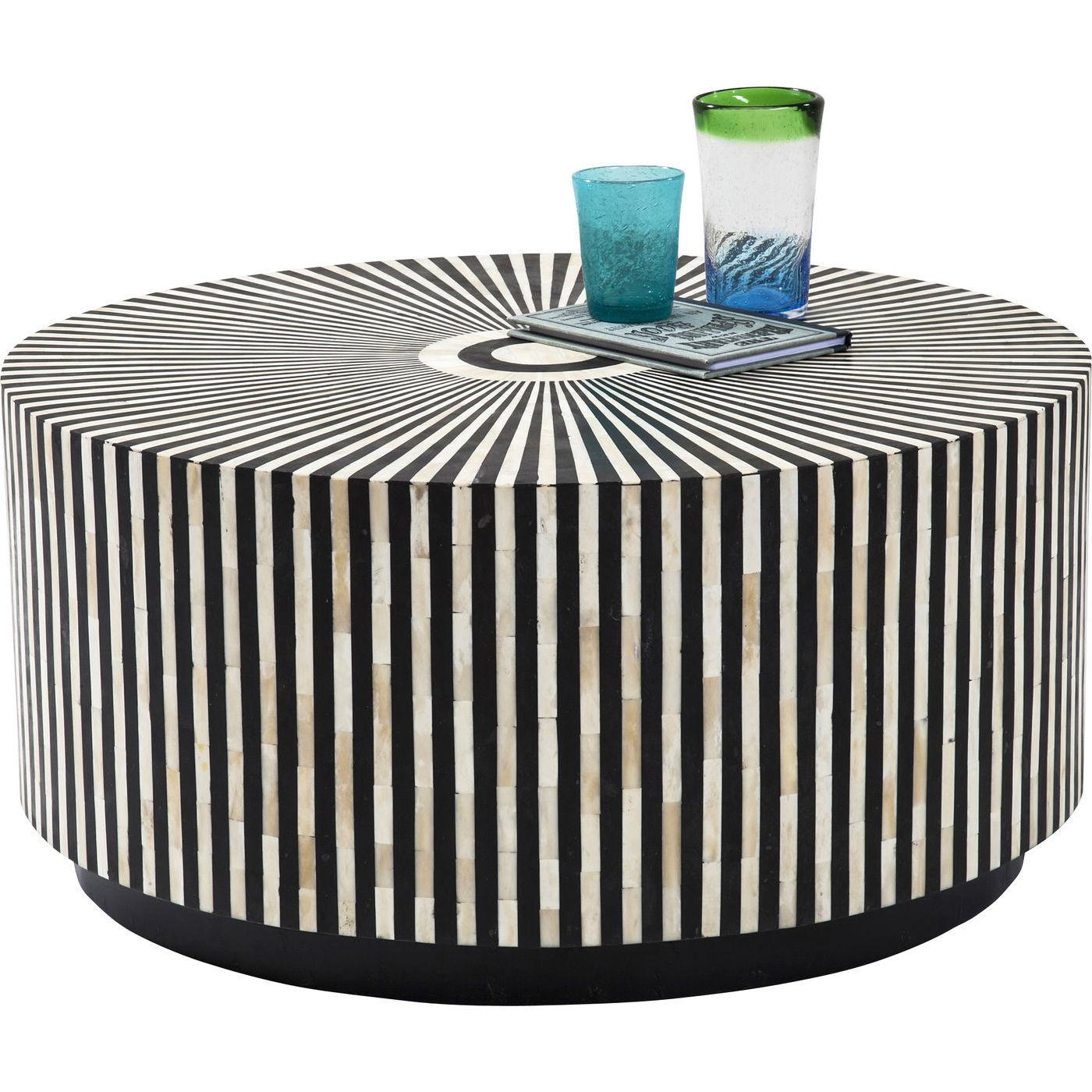 kare design – Kare design electra sofabord - creme/sort kamelben/fiberplade, rundt (ø75) fra boboonline.dk