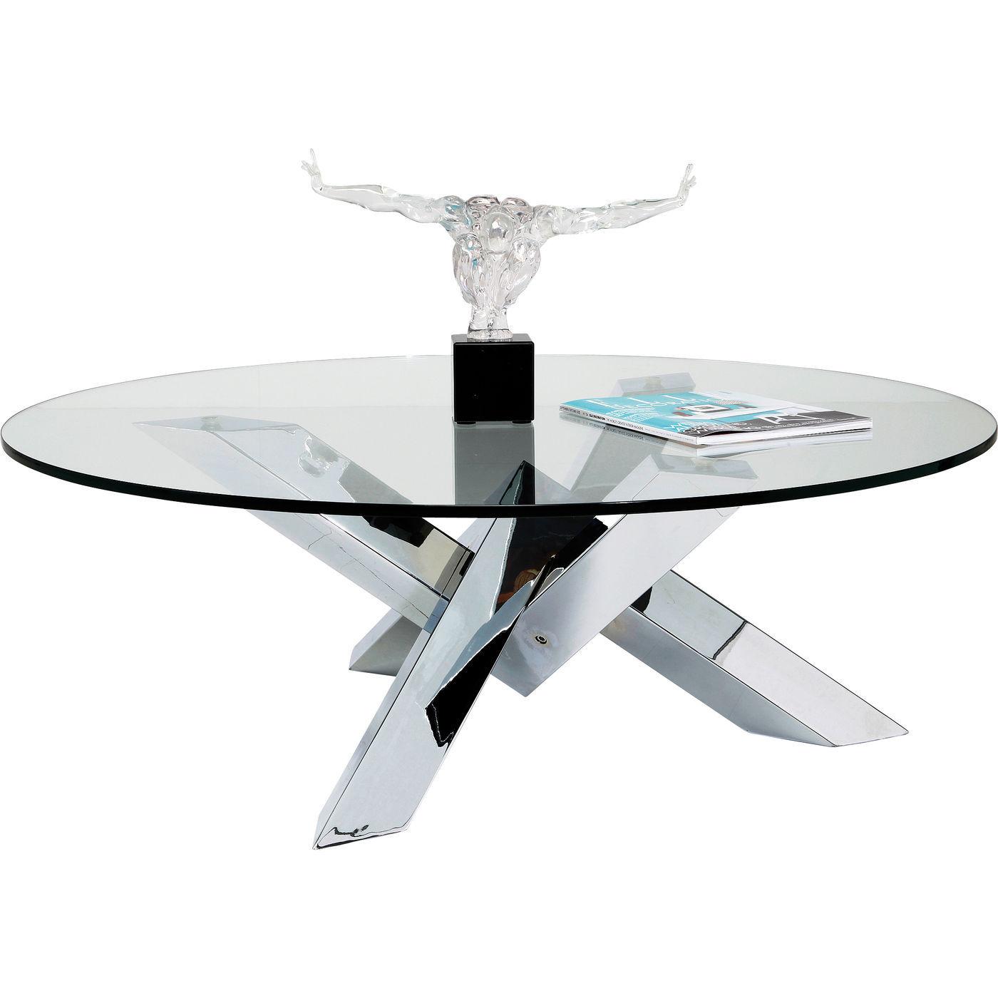 kare design – Kare design crystal econo sofabord - glas/sølv stål, rundt (ø100) på boboonline.dk