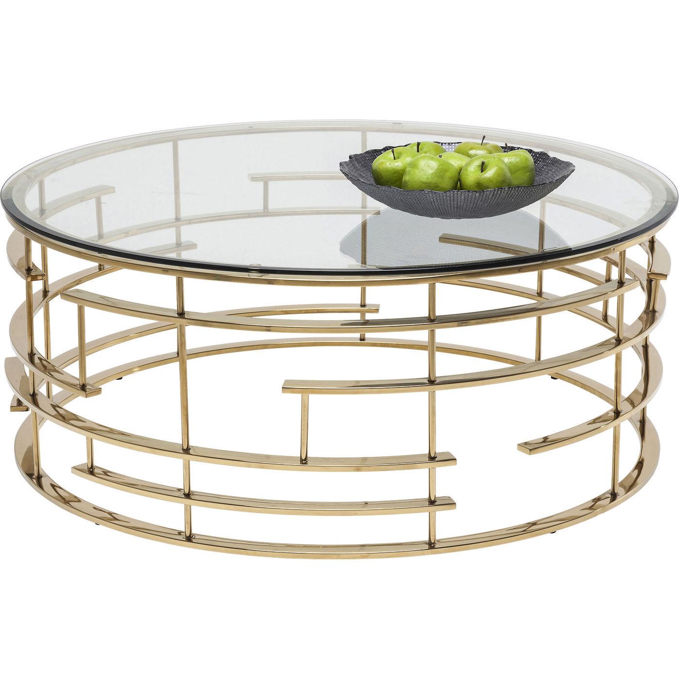 Kare design jupiter sofabord - glas/guld stål, rundt (ø100) fra kare design på boboonline.dk