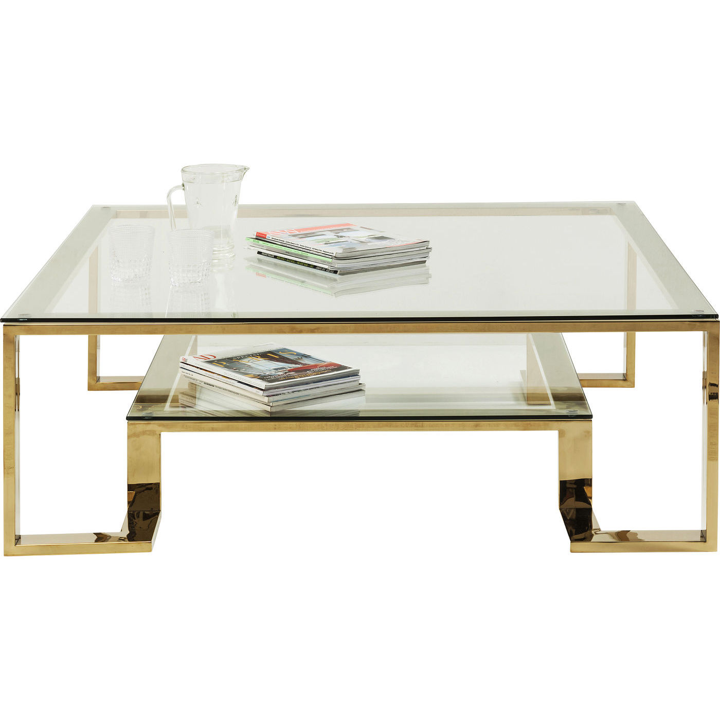KARE DESIGN Gold Rush sofabord - glasplade og guld stål (120x120)