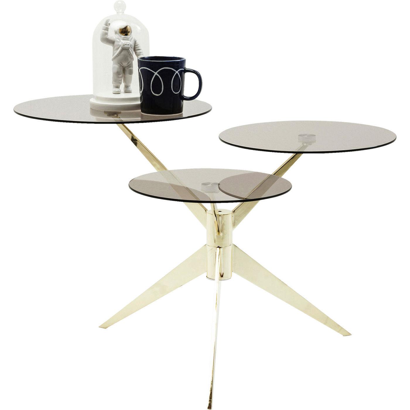 Kare design bonsai tre brass sofabord - glasplade og messing, asymetrisk (65x77)