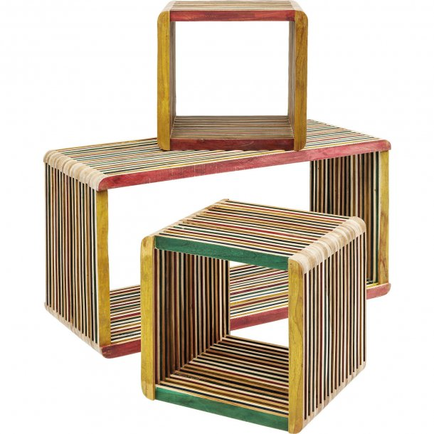 cube micado reol i genbrugs teaktr multifarvet cool. Black Bedroom Furniture Sets. Home Design Ideas