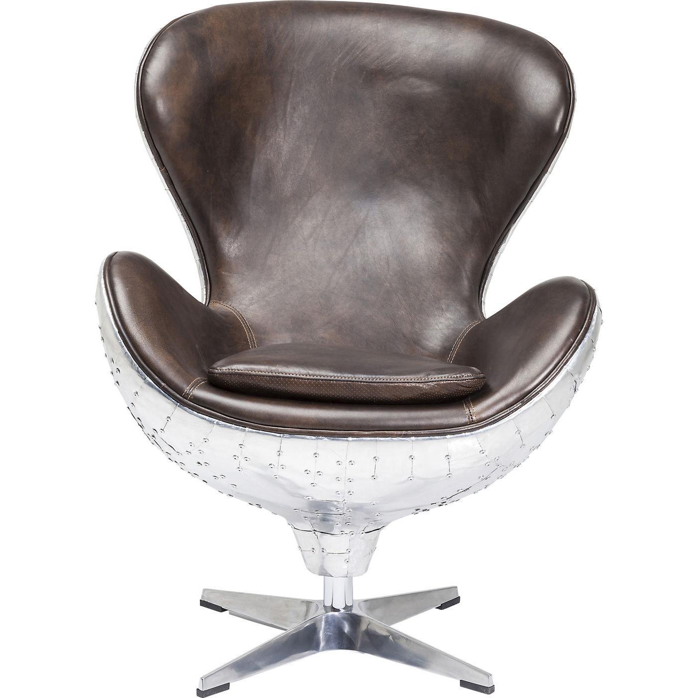 KARE DESIGN Soho Big Boss Brown drejestol - brunt skind og aluminium