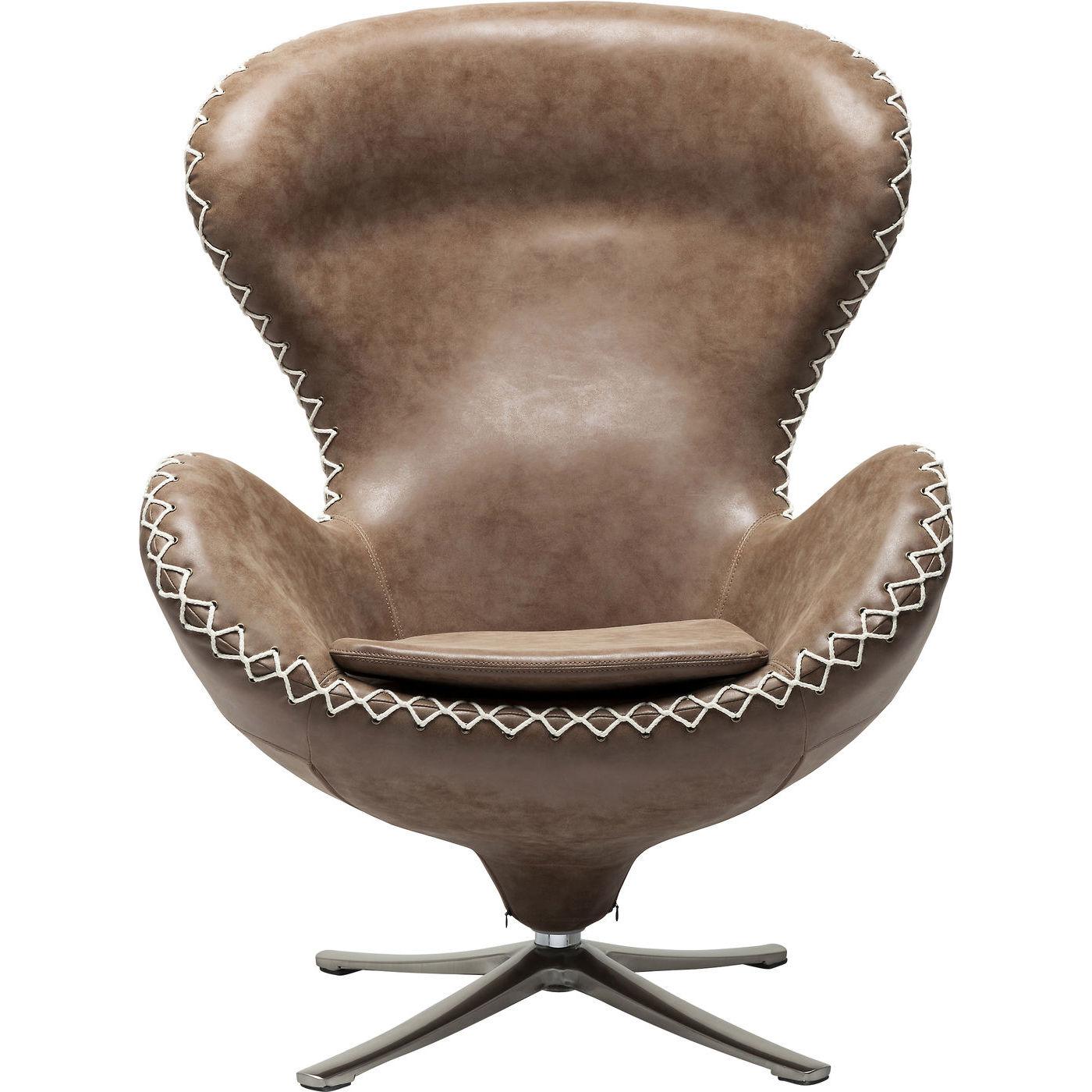 Kare design lounge bonanza drejestol - brunt læderlook fra kare design på boboonline.dk
