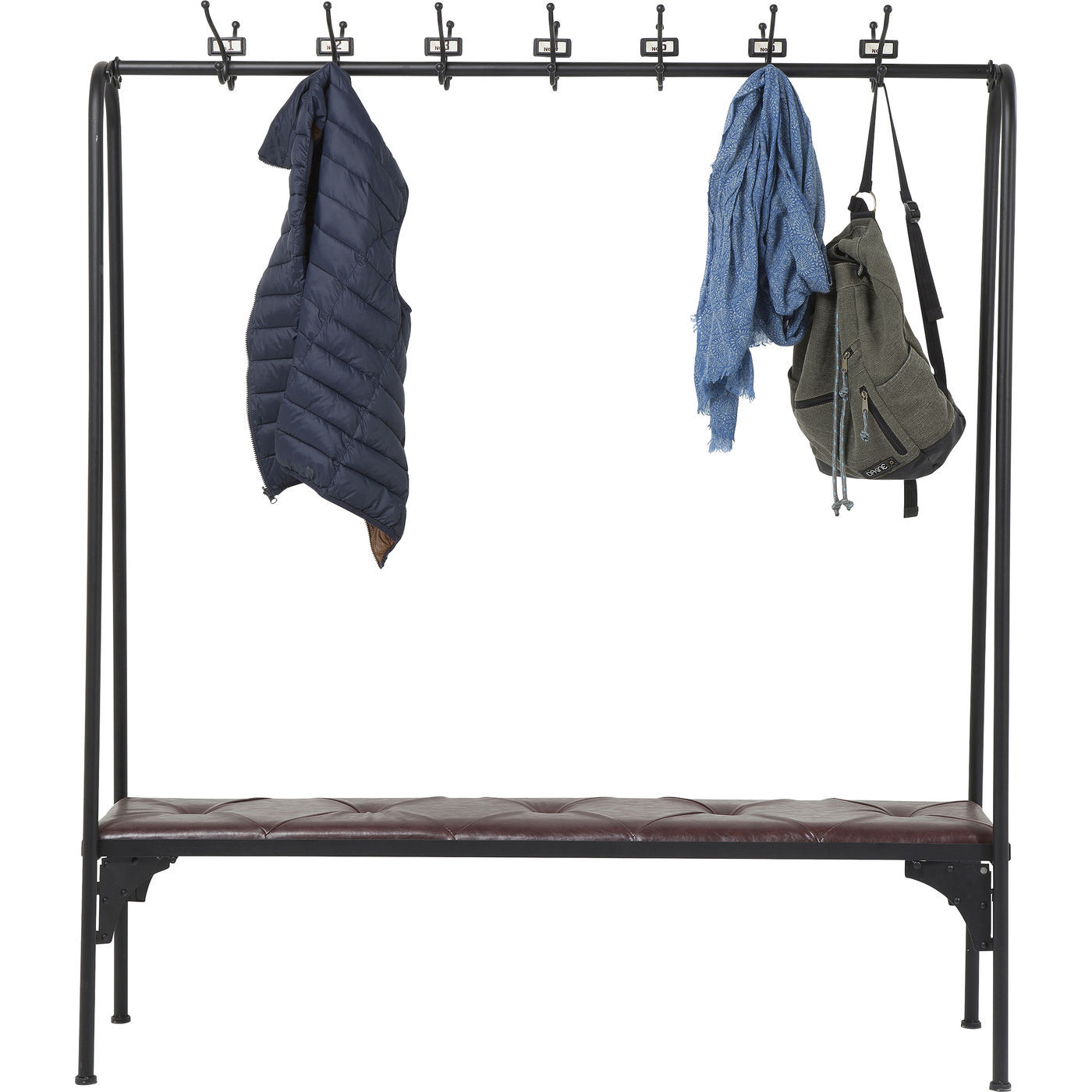 KARE DESIGN Gym Bench garderobestativ & bænk – sort metal og brunt kunstlæder, m. 28 knager