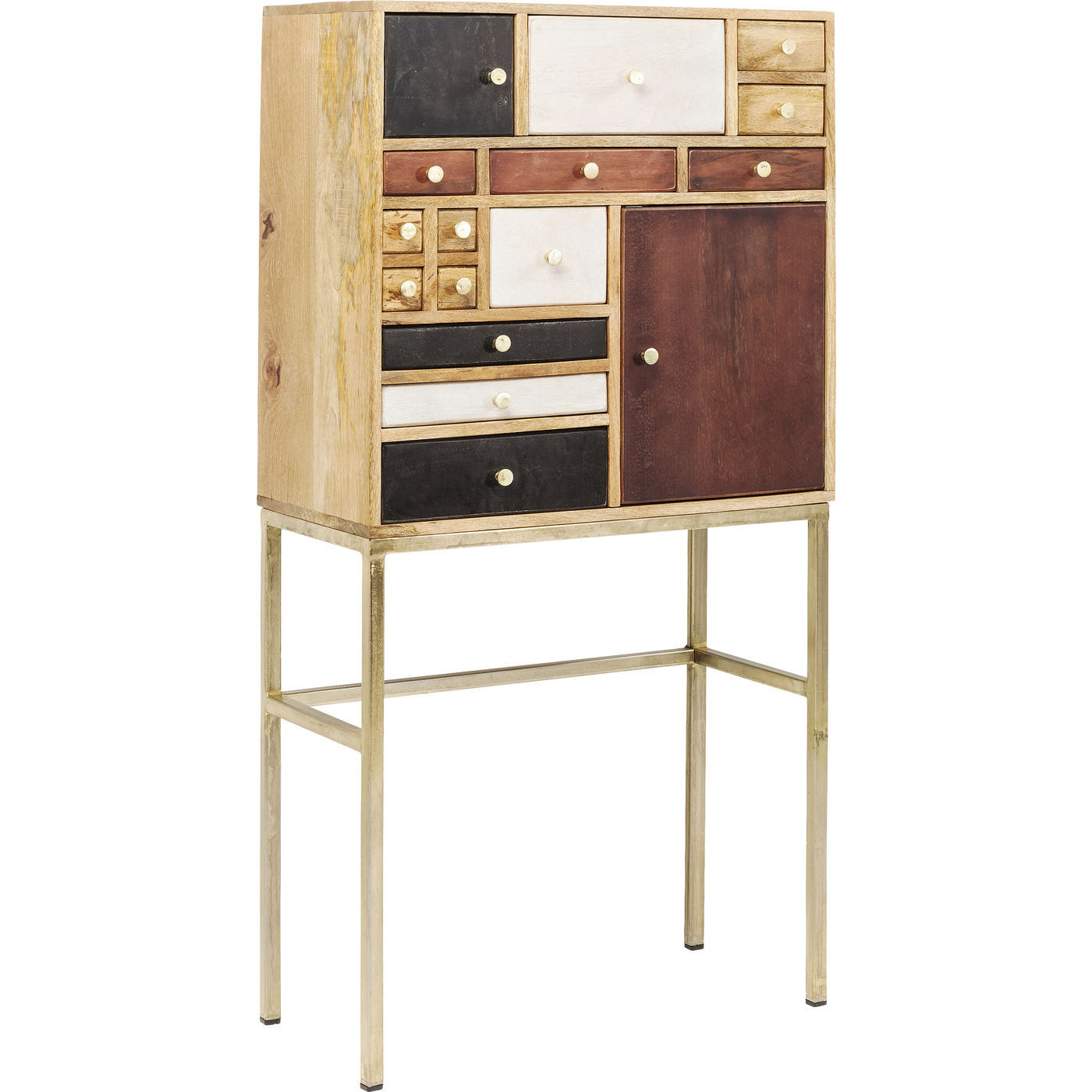 panoptikum vitrineskab med mange skuffer og plads til ting. Black Bedroom Furniture Sets. Home Design Ideas