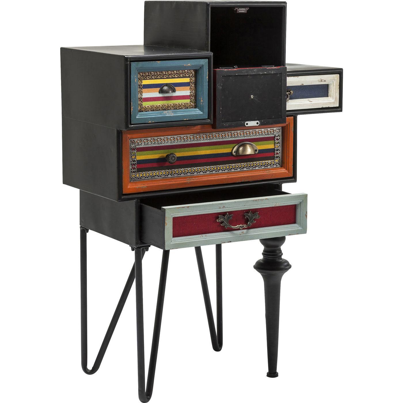 atypisk kommode med fem skuffer og metalstel i sort. Black Bedroom Furniture Sets. Home Design Ideas